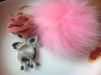 diy  key ring  women gift   donkey keyring  star fur ball real mink crystal inset KEYCHAIN free shipping exquisite bag hanging