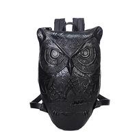 BRIGGS Personality Brand Design PU Leather Men's Backpacks Stereo Owl Backpacks Students School Travel Bag mochila escolar