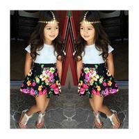 Summer Girls Set White Short Sleeve Tshirt And Floral Skirt Clothing Sets For Girls Children's Flower Printing Skirt Suit 2015