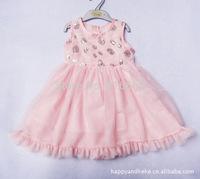 Free shipping 2015 girl dress children shinning flower pink dress princess girl dress children clothing kids summer girl clothes