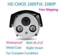 Hot selling 1080P 1000TVL Color outdoor security CMOS IR camera CCTV Camera waterproof camera with IR-CUT Free drop Shipping