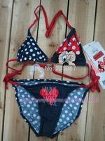 Retails (10-14Y) big girls minnie mouse bikini swimsuit bathing suit petti minie swimwear Girls 2-pieces swimsuit free shipping