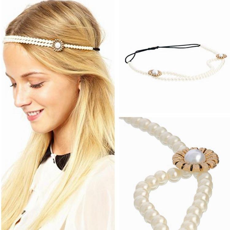 New Arrivals 2015 Fashion hair jewelry all-match pearl beaded flower elastic headband hair band free shipping headress(China (Mainland))