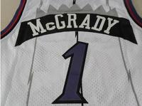 Toronto #15 Vince Carter, #1 Tracy McGrady Retro Throwback Basketball Jersey, Cheap Brand Mesh Embroidery Logos Jersey - White