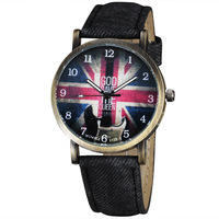 Hot Sale Women's Fashion Watches Bracelet Cool Army UK Flag Dial Design Retro Bronze Fabric + Leather Strap Relogio femilino 753