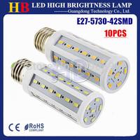 Free shipping 10pcs/lot E27 E14 B22 Base 5730 42smd 12W LED Corn bulb lamp White/Warm white Light AC110/220V USE Family Lighting
