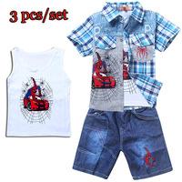 Summer Spiderman Baby Boy Clothing Set Cotton Vest + boys shirts + Shorts 3pcs Sports Suit Children's Sets Baby Boy Clothes Sets