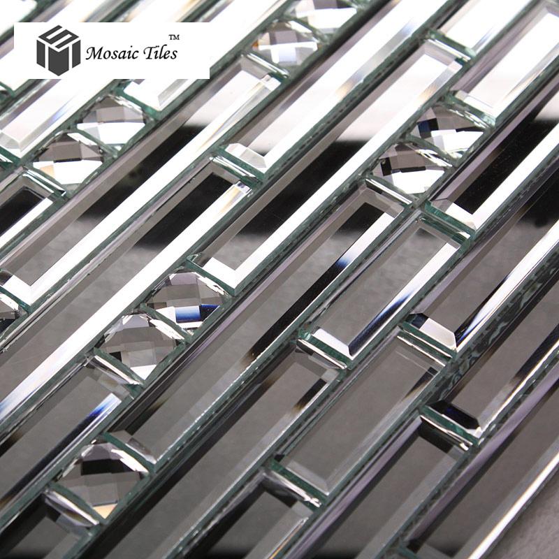 Achetez en gros carreaux de verre d 39 argent en ligne des for Miroir eclat silver