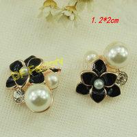 1.2*2cm pearl alloy flower black rhinestone buttons 20pcs/lot