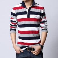 Men's Clothing Spring Fashion Male Stripe Slim Cotton Camisa Plus Size 4XL 5XL Camisas Masculinas Men Long Sleeve Polo Shirt