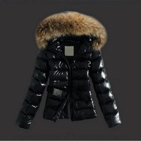 2015 New Women's Winter Jacket Short Style Large Raccoon Fur Collar Slim Warm Hooded Coat Women White Duck Down Jacket