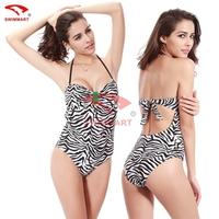 2015 QUEEN Zebra Stripe one-piece Women Ladies Sexy Bikini Beach Wear Swimwear Halter Summer Bikini Swimsuit VS-008