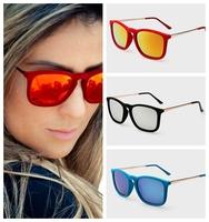 New 2015 fashion woman retro brand rb 4187 erika velvet sunglasses mirror RB4187 F red orange mirror 54mm oculos de sol feminino