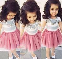 Free shipping! 2015UAS EUROPE summer girls dress girls CHILDREN kids dress color cute  dress girls baby dress 5pcs/lot