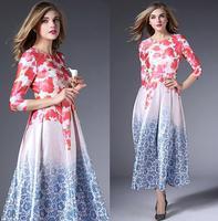 Freeship New Hot Sale Long Dress 2015 Spring Women Charming Floral Print 3/4 Sleeve Elegant Red Carpet Long Dress Celebrities