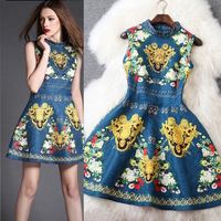 New arrival 2015 spring and summer women's vintage royal print beading small stand collar one-piece dress