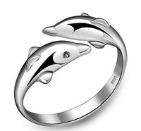 New Arrival Wholesale 925 Sterling Silver Animal Dolphins Rings Finger Ring Adjustable JZ001