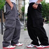 Men's Clothing Male Casual Multi-Pocket Trousers Cotton Straight Overalls Pantalones Hombre Men Loose Plus Size Cargo Pants