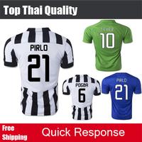 Top Thai quality 2015  PRILO POGBA jersey Away Blue Third Green Jersey TEVEZ VIDAL MACHISIO MORATA LLORENTE 14 15 Soccer Jersey