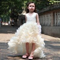 Manual Nail Bead Tuxedo Dress Flower Girl Dresses For Weddings Elegant Trailing Gown Baby Girls Party Dress Free Shipping