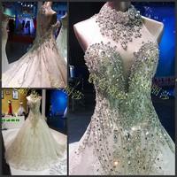 Diamond Royal princess bandage tube top train wedding dress women bride dresses luxury party dress elegant sexy party /show gown