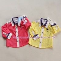 5pcs/lot (0-2Y) baby cotton shirts, baby Color matching causal shirts, long sleeve shirts, fashion shirts, free shipping