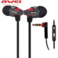 Original Awei ES-860Hi earphones In-ear earphones headphones Super Clear Bass Metal Earbuds earpods 3.5mm for MP3 with mic