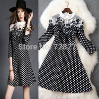 2015 New Fashion Women's Clothing Plus size L XL Embroidery Dress Winter Dresses