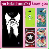 The cartoon comic smart cover print pu leather protector back cover case For Nokia Lumia 730 735 fit Nokia Lumia 735 phone cover