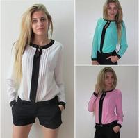 2015 Women Blouse Spring Autumn Fashion Woman Top Casual Shirts Patchwork Chiffon Blouse Shirts