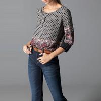 2015 New Design Ladies Retro Ethnic Blouse  Round Neck Tops Temperament Leisure Camisa MM8006