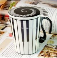New unique Play Piano Keys Mug With a lid 10.58oz Coffee Milk Ceramic Mug Cup Best Gift free shipping