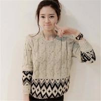Women Twist Geometric patterns Sweater Tops Girls'Vintage Crop Knit Pullover Casual Stretch Spring Autumn Knitwear