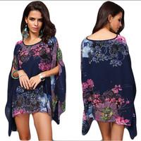 Vintage Woman Tropical Floral Print Batwing Sleeve Chiffon Blouse Blusas Femininas 2015Casual Large Size Women Tops Hippie AY334