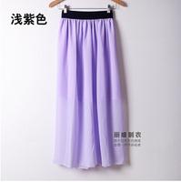 2015 new summer Europe and America women elastic waist chiffon skirts sexy long skirt Plus Size DQ135