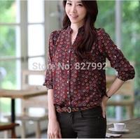 Women Casual Fashion Geometric Print Top Stand Collar Long Sleeves Chiffon Shirt Blouse Wire Red