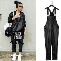 Free shipping new fashion design 2015 spring autumn printing conjoined trousers overalls black PU for man and women sports pants
