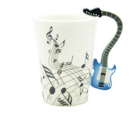 New Unique Blue Electric Guitar Music Notes Holds Tea Coffee Milk Ceramic Mug 10.58oz In  free shipping