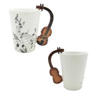New Best Gift Unique Love Music Violin Notes Holds Tea Coffee Milk Ceramic Mug  free shipping