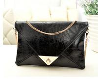 Retail 2015 New arrive Black Women PU Leather handbag Fashion Envelope Day Clutch shoulder Messenger bag for female SG007