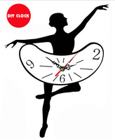 New Arrival Ballet dancer black and white color acrylic DIY Quartz wall clock