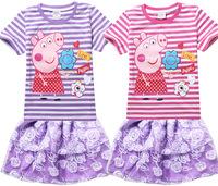 Summer Peppa Pig Baby Girls Clothing Set Striped T shirt +Rose Tutu Skirt  Saias Sets Baby Girls Clothing Sets Children's Sets