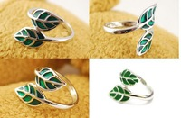 Fashion leaf edition pure fresh Exquisite Lotus herb snow Flower Style Adjustable Finger Ring for woman ladies girls