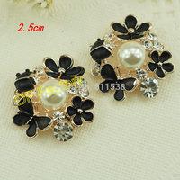 2.5cm black alloy button wedding  buttons flat back for handmade hair accessory 20pcs/lot