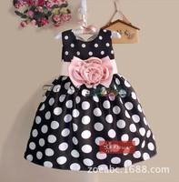 2015 girl dress children PM black dot flower  dress princess girl dress children clothing kids summer girl clothes bow