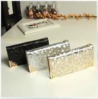 2015 New style famous brand wallet Stylish Korean Style Women Wallets Stone Grain PU Leather Zip Woman Purse Black/Golder/Silver