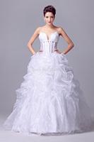 2015 Romantic Spaghetti Straps White Wedding Dress Organza Bride Dresses Ball Gown Lace-up Back In Stock Vestidos De Noiva