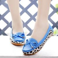 New 2015 Women Flats Shoes Bow Platform Slip Shose Maternity Sandal Sapatos Femininos Shoe Moccasins Pu Leather Leopard