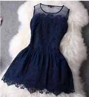 High quality spring Summer 2015 New  women sexy lace Casual Dress Vintage Digital party Vestidos Femininos club vestido de festa