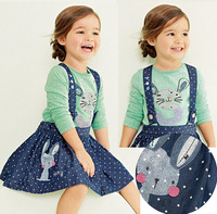 Children's Easter Clothing Set Cotton Long Sleeve Rabbit Tshirt And Skirt Clothes Set For Girls 2015 New Clothing